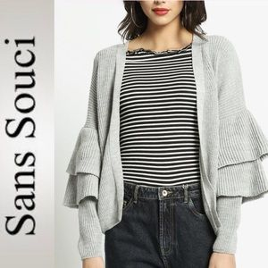 SANS SOUCI Ruffled Sleeve Open Front  Cardigan